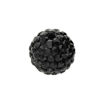 Strassperle, innen 1,5mm, Ø 12mm, Schwarz, Harz
