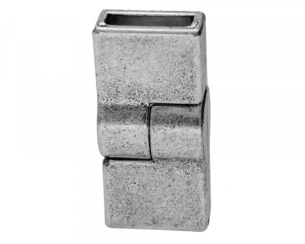 Magnetverschluss, innen 10x3mm, 26x12x9mm, antik sliberfarben, Metall