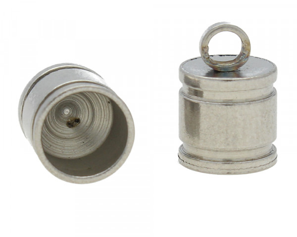 Endkappe mit Öse, 11x7mm, Loch-Ø 5,5mm, Edelstahl, stahlfarben