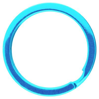 Schlüsselring, Spiralring, rund, 1 Stück, 30x3mm, Metall, blau