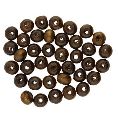 Holzperle (20 Stück), innen 1,5mm, Ø 6mm, kaffeebraun, Holz