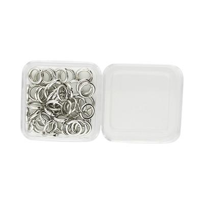 Bindering, rund, 50 Stück, 6mm, innen 4,5mm, Metall, silberfarben