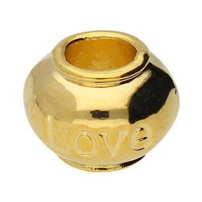 Großlochperle, innen 5mm, 11,5x8,5mm, goldfarben, Metall