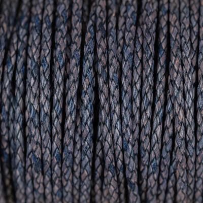 Premium Lederband rund geflochten, 100cm, 3mm, BLAU-GRAU meliert