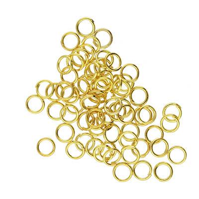 Bindering, rund, 10 Stück, 5mm, innen 3,6mm, Metall, goldfarben