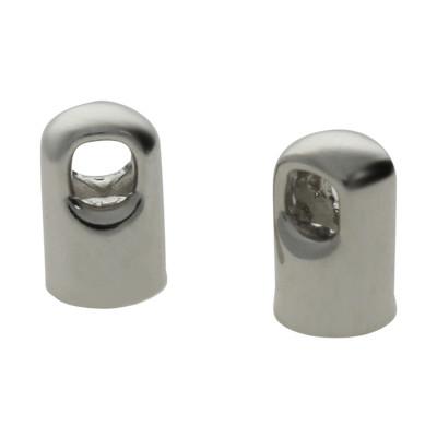 Endkappe mit Öse (2 Stück), 8x5mm, Loch-Ø 4,0mm, Metall, silberfarben