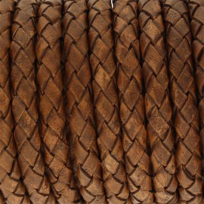 Lederband rund geflochten, 100cm, 5mm, TABAK