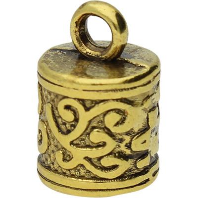 Endkappe, innen 6mm, 12,5x8,5mm, Öse 2mm, goldfarben, Metall