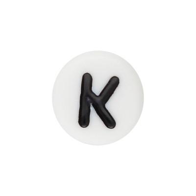 Acrylbuchstabe K (10 Stück), innen 1mm, 7x4mm, schwarz-weiß
