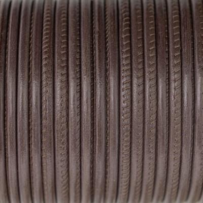 Nappaleder rund gesäumt, 100cm, 6mm, ZIMT