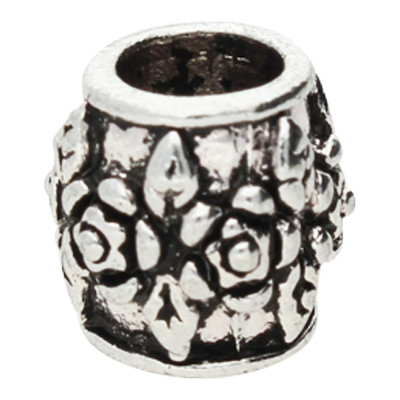 "Großlochperle ""Blumen-Muster"", innen 5mm, 10x9mm, antik silberfarben, Metall"
