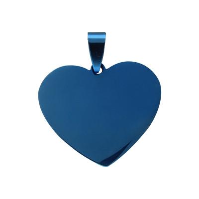Anhänger, Herz, 26x30x1,5mm, Öse 5,5x9,5mm, Edelstahl, blau