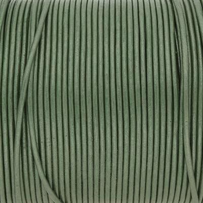 Rundriemen, Lederschnur, 100cm, 1,5mm, METALLIC DEEP GRASS GREEN