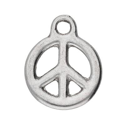 Anhänger, Peace, 23x18mm, antik-silberfarben, Metall