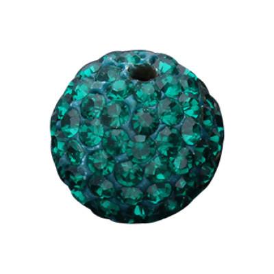 Straßperle, innen 1mm, Ø 12mm, smaragdMetall
