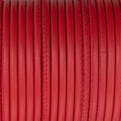 Premium Nappaleder rund gesäumt, 100cm, 4mm, REINROT