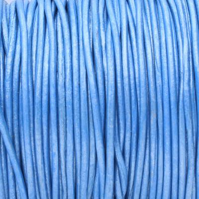 Rundriemen, Lederschnur, 100cm, 1mm, METALLIC BLAU