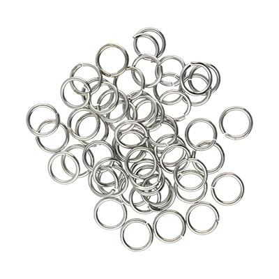 Bindering, rund, 50 Stück, 8mm, innen 6mm, Metall, silberfarben