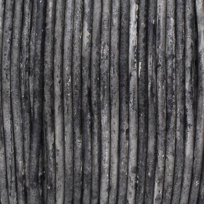 Rundriemen, Lederschnur, 100cm, 1mm, VINTAGE GRAU meliert