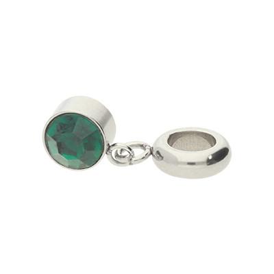 Charm, innen 5mm, 21x7mm, Strassstein smaragdgrün, Edelstahl