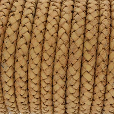 Lederband rund geflochten, 100cm, 6mm, KARAMELL