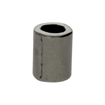 Großlochperle, innen 4mm, 8x4mm, schwarz, Metall