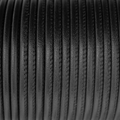 Premium Nappaleder rund gesäumt, 100cm, 4mm, SCHWARZBRAUN