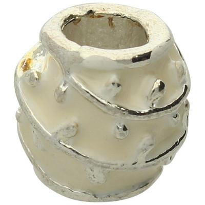Großlochperle, innen 4,5mm, 9,5x9,5mm, weiss, Metall und Emaille