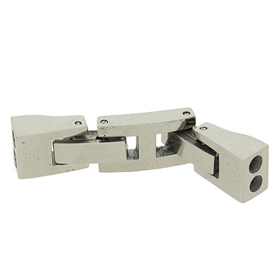 Armbandhaken-Verschluss für 2 Bänder , innen 2,5mm, 38x8x5mm, Edelstahl glänzend