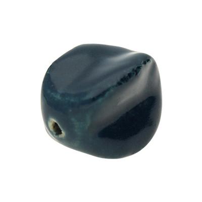 Perle XL, innen 2mm, 25x24mm rund, preußenblau, Porzellan