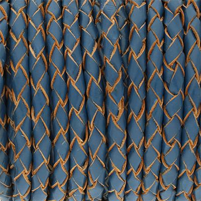 Lederband rund geflochten, 100cm, 4mm, DUNKELBLAU mit Naturkanten