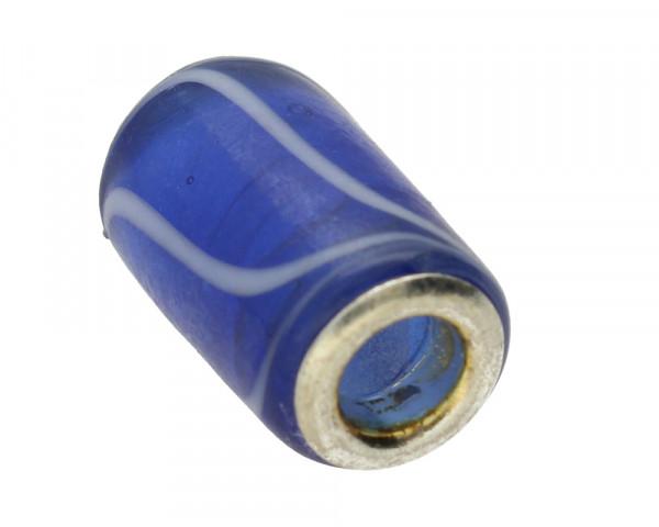 Großlochperle, innen 4,5mm, 16x9mm, saphirblau