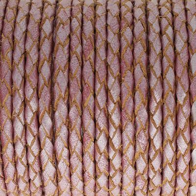 Lederband rund geflochten, 100cm, 3mm, METALLIC ALTROSA mit Naturkanten
