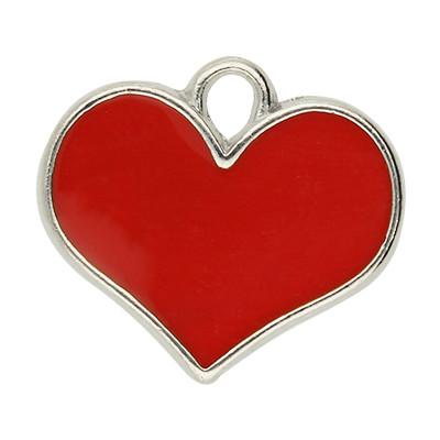 Anhänger, Herz, 16x19x1mm, rot- & silberfarben, Metall