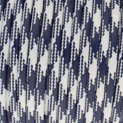 Gewachstes Schmuckband aus Baumwolle, 100cm, 3mm, NAVY-WEISS