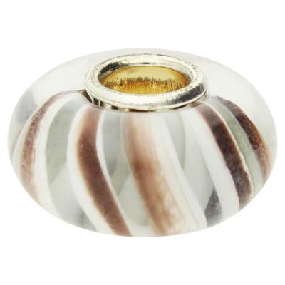 Großlochperle , innen 4mm, 14x8mm, braun-weiss, Glas und Metall