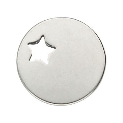 Anhänger rund mit Stern, Ø 13mm, silberfarben, Edelstahl