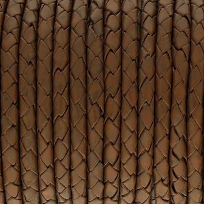 Lederband rund geflochten, 100cm, 4mm, NUSSBRAUN