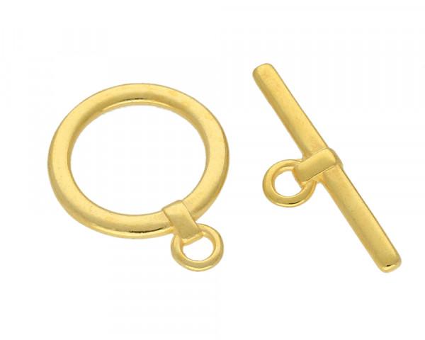 Knebelverschluss goldfarben, glänzend - 22 x 29 mm   10 x 32 mm