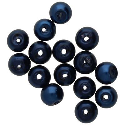 Kristallperle (10 Stück), innen 1mm, Ø 4mm, stahlblau, Glas
