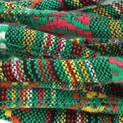Ethnoband aus Baumwolle, 100cm, Ø 6mm breit, GRÜN MIX