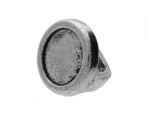 Schiebeperle / Slider mit Fassung für Cabochons 10 mm, 15,7 x 11,5 mm, Metall, versilbertGröße Fädel