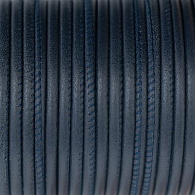Nappaleder rund gesäumt, 100cm, 4mm, NAVY