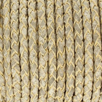 Lederband rund geflochten, 100cm, 3mm, STEINGRAU meliert