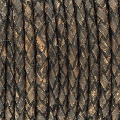 Lederband rund geflochten, 100cm, 3mm, SCHWARZBRAUN meliert
