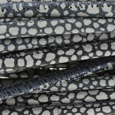 Nappaleder rund gesäumt, 100cm, 2,5mm, BLAU-GRAU Rochenprägung