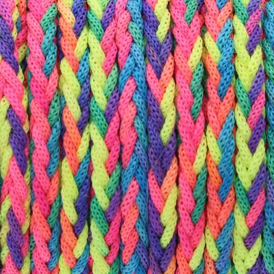 Satinband, Satinkordel, geflochten rund (100cm), 3mm, multicolor, neonfarben