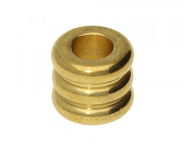 Großlochperle, innen 4,5mm, 9x8mm, Edelstahl, goldfarben