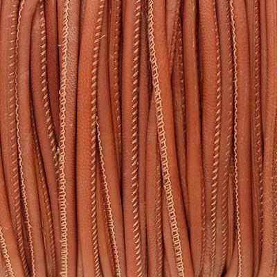 Nappaleder rund gesäumt, 100cm, 4mm, KUPFERBRAUN VINTAGE