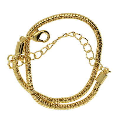 Armband für Charms mit Karabinerverschluss, Ø 3mm, Gesamtlänge ca. 20,5cm, Metall, goldfarben